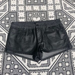 Forever 21 Black Faux Leather Jean Shorts